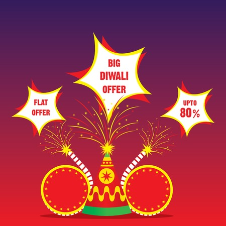 colorful fire cracker with decorated diya for Happy Diwali holiday of India poster design