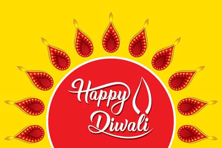 creative traditional design, happy diwali festival greeting or poster design, festival of light Illustration