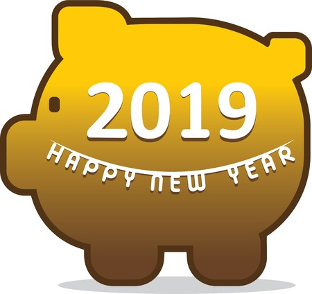 creative happy new year 2019 greeting, text written on piggy bank