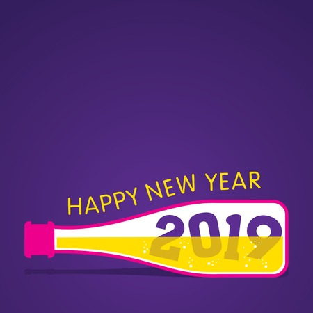 new year 2019 text in the bottle design, using different concept