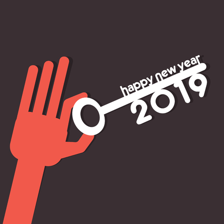 creative colorful new year 2019 greeting card design by hold new year key