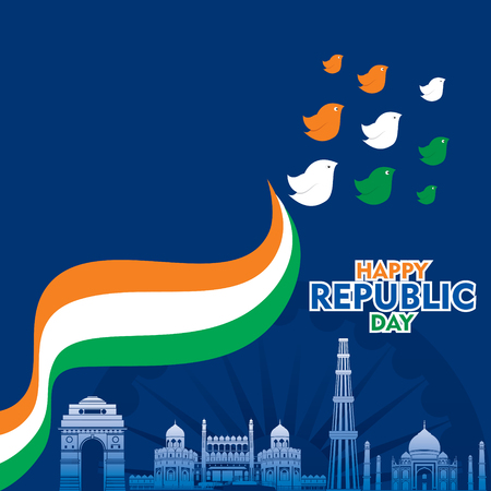 happy independence day of india illustration vector, with tricolor bird design