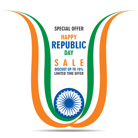 creative happy independence day of india illustration vector, tricolor wave strip banner design Illustration