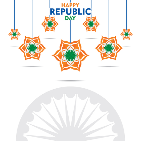 happy independence day of india illustration vector, using tricolor flower poster design