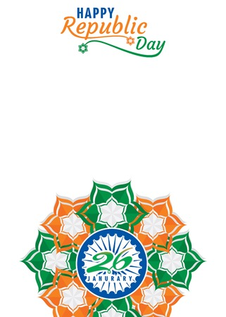 happy republic day of india illustration vector, using abstract flower poster design