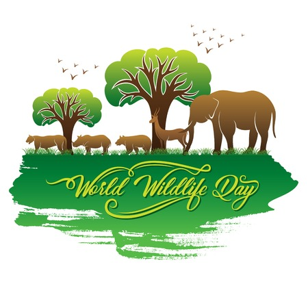 world wildlife day banner design, animal in forest design by brush stroke concept