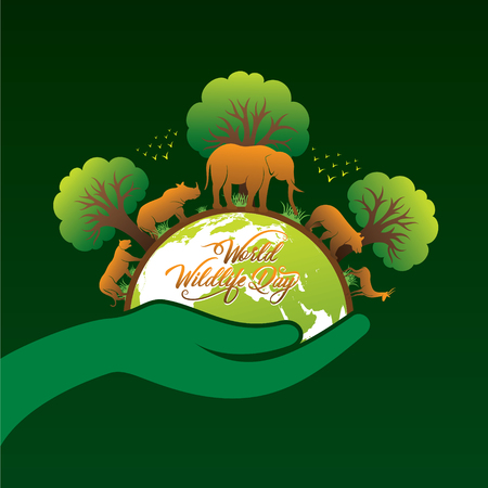 world wildlife day banner design, animal in forest concept