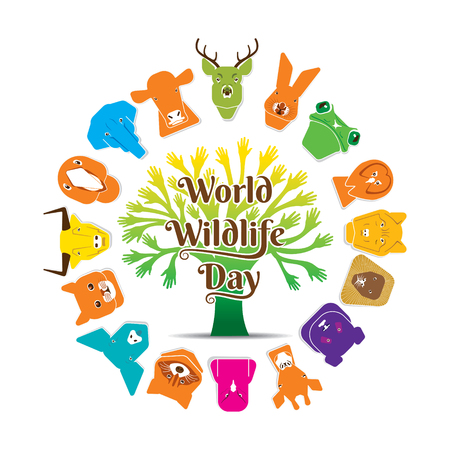 colorful animal face support world wildlife day poster design concept