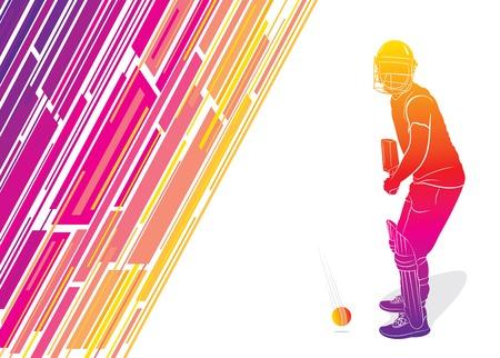 illustration of batsman playing cricket sports poster design