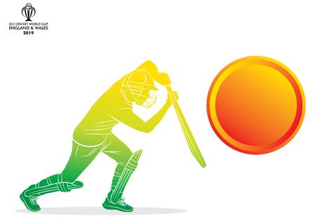 illustration du batteur jouant au cricket conception d'affiches de sports