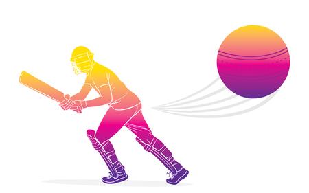 joueur de cricket frappant la conception d'une grande affiche, écrivez votre commentaire ou faites de la publicité pour le texte sur une grosse balle Vecteurs