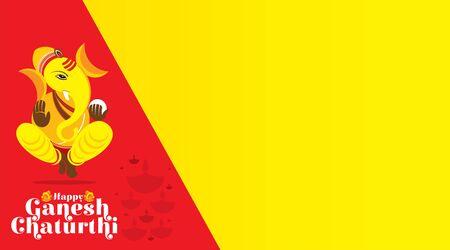 illustration of Ganesh Chaturthi festival of india banner or poster concept design