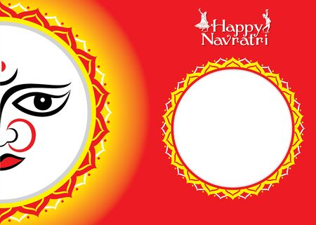 illustration Of Happy Navratri festival Greeting Card Design With Beautiful Maa Durga face vector