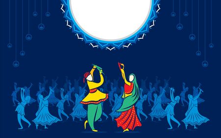 Indian couple playing Garba in Dandiya Night Navratri Dussehra festival of India celebrate