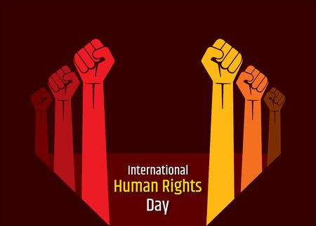 Vector illustration of International Human Rights Day, fist hand background design