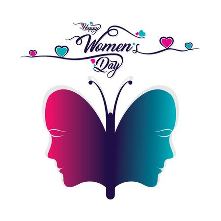 Happy International women's day greeting card design, abstract butterfly women sketch design Archivio Fotografico - 140260224