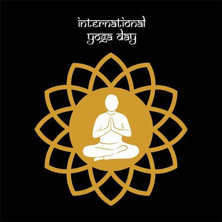 Illustration of international yoga day, men in yoga pose