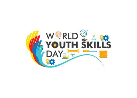 vector illustration of world youth skills day poster or banner design