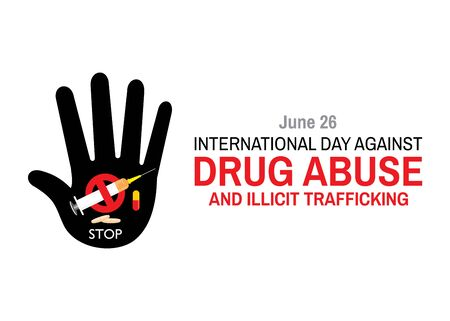 Vector Illustration of International Day against DRUG ABUSE and illicit trafficking poster and banner design Vektorové ilustrace