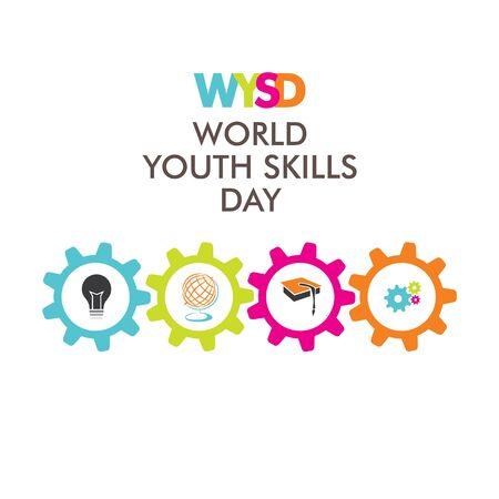 vector illustration of world youth skills day poster or banner design Vektorové ilustrace
