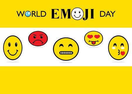 vector illustration of world emoji day poster or greeting design Vectores