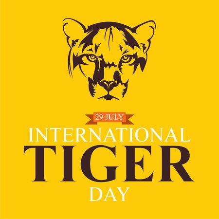 vector illustration of international tiger day poster design