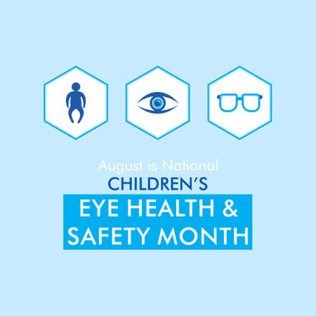 august is children's eye health and safety month awareness poster design