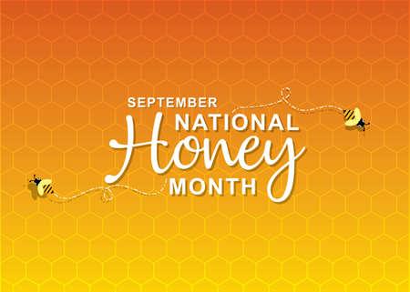 vector illustration of national honey month poster design