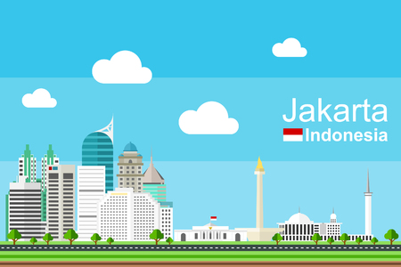 buildings city: Flat Jakarta cityscape complete with its landmarks and famous buildings Illustration