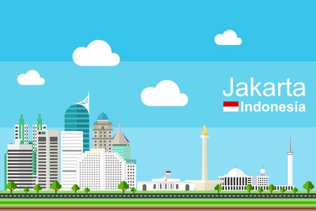 Jakarta plana paisaje urbano completo con sus monumentos y edificios famosos