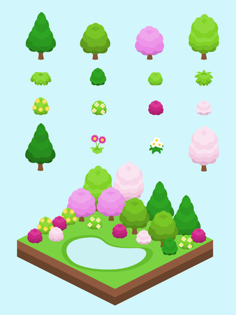 bushes: Tree, bushes, and flowers for isometric colorful spring scene