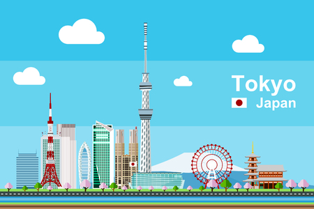 Simple flat-style illustration of Tokyo city in Japan and its landmarks.