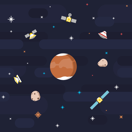Seamless outer space pattern in flat style, depicting planet Mars surveyed by various orbiting satellites, with its moons orbiting and stars decorating the background.