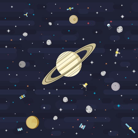 The wider version of Flat Seamless Outer Space Pattern series. Depicting Saturn and its moons orbited by satellites. Vector compatible with smaller Flat Seamless Outer Space Pattern series. Illustration