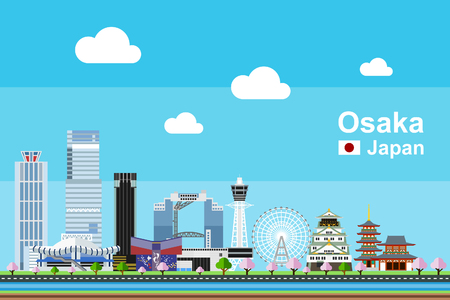 Simple flat-style illustration of Osaka city in Japan and its landmarks. Famous buildings and tourism objects such as Tempozan Ferris Wheel, Osaka Castle, Shitenno-ji temple, and Tsutenraku included. Stock Illustratie