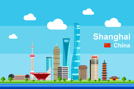 Simple flat-style illustration of Shanghai city in China and its landmarks. Famous buildings included. 向量圖像
