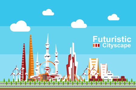 Futuristic cityscape in flat style featuring different generic buildings in red-orange theme color.