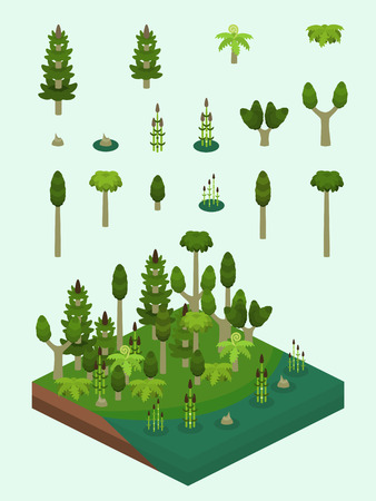 Carboniferous era plants set for video game-type isometric swamp scene. Simplified plants included ferns, horsetails (Equisetum), the extinct Calamites, and prehistoric Sigillaria tree.