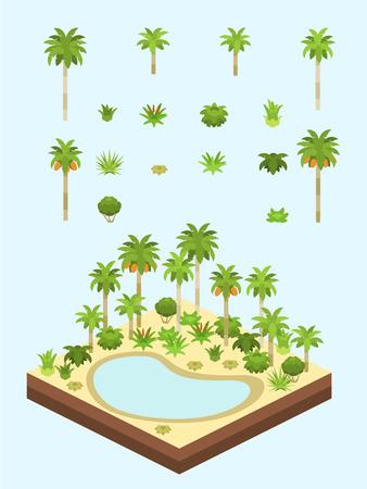 Date des palmiers et des arbustes pour la scène isométrique isométrique de l'oasis du désert saharien / arabe.