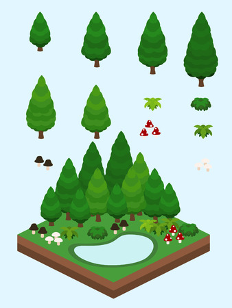 Trees, bushes, and mushrooms for video game-style isometric evergreen coniferous forest scene. Illustration