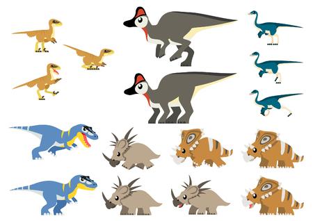 deinonychus: Various North American Cretaceous dinosaurs vector containing Gorgosaurus, Deinonychus (feathered), Chasmosaurus, Styracosaurus, Corythosaurus, and Ornithomimus illustration.