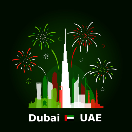 Simple vector illustration of fireworks above Dubai cityscape, colored based on United Arab Emirates national flag. Famous buildings included.