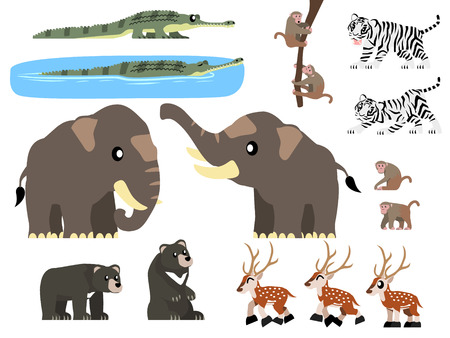 South Asian - mainly from India - animals vector containing white tiger, macaque monkey, Asian black bear, gharial, Asian elephant and chital (spotted) deer illustration. Çizim