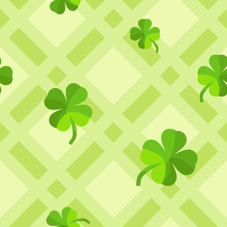 Simple flat pattern of four leaf clovers on green spring-themed geometric pattern.