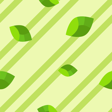 Simple flat pattern of leaves on scarce stripes, intended to represent green color of summer and spring. Ilustrace