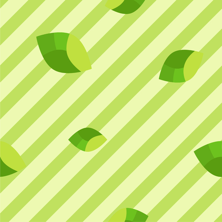 Simple flat pattern of leaves on stripes, intended to represent green color of summer and spring. Reklamní fotografie - 92572757