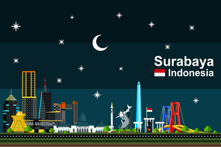 Simple flat-style illustration of Surabaya city in Indonesia and its landmarks at night. Famous buildings and tourism objects such as Surabaya Statue, Tugu Pahlawan,and Suramadu bridge included.