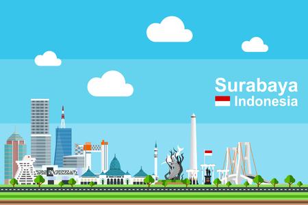 Eenvoudige vlakke stijlillustratie van de stad van Surabaya in Indonesië en zijn oriëntatiepunten. Bekende gebouwen en toeristische objecten zoals Surabaya Statue, Tugu Pahlawan en Suramadu bridge zijn inbegrepen.