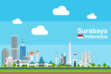 Simple flat-style illustration of Surabaya city in Indonesia and its landmarks. Famous buildings and tourism objects such as Surabaya Statue, Tugu Pahlawan,and Suramadu bridge included.