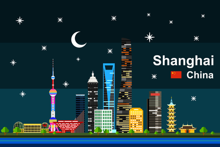 Simple flat-style illustration of Shanghai city in China and its landmarks. Famous buildings included. Çizim
